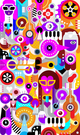 abstract illustration: Musicians abstract vector illustration. Graphic design. Music band concert. Illustration