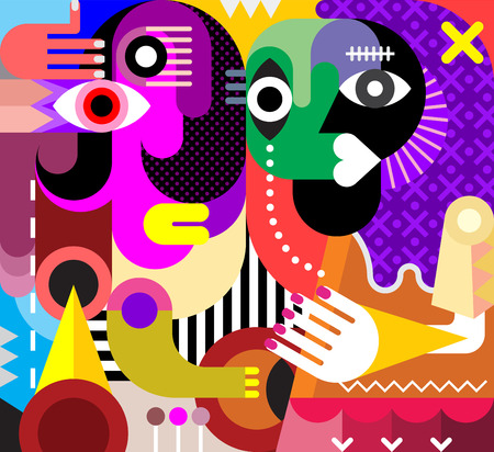 picasso: Abstract portrait of two talking beautiful women. Vector illustration. Modern fine art. Illustration