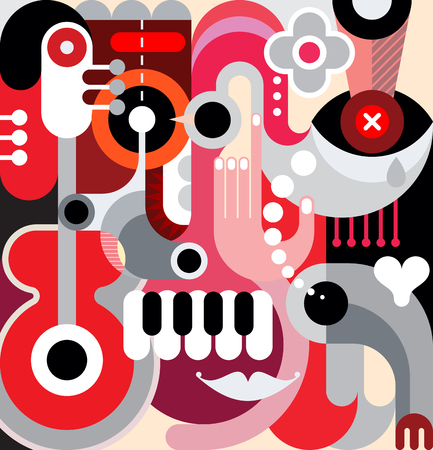 decorative objects: Abstract art vector background. Decorative collage of various objects and shapes. Illustration