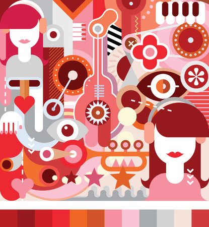 listening: Young woman listening music with headphones - vector illustration. Art collage with musical instruments.