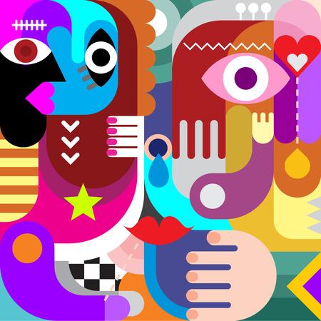 arte abstracto: Fondo abstracto del arte del vector. Collage decorativo de varios objetos de colores y formas. Vectores
