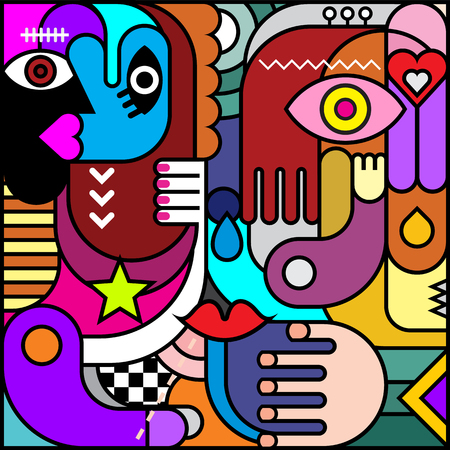 Stained glass. Abstract art vector illustration. Decorative collage of various colorful objects and shapes.