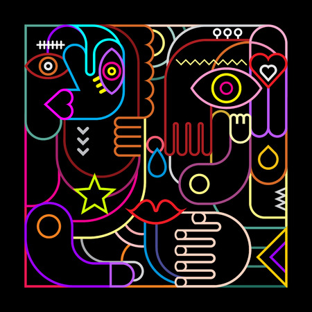 Abstract art vector illustration. Neon lights on black background.