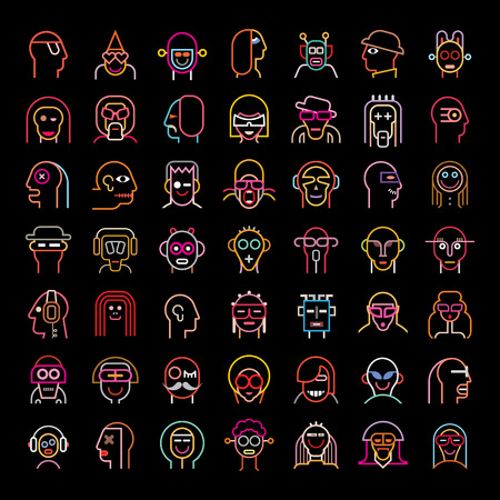 scaled: Set of various vector avatars. Neon color isolated clip arts on black background. .Vector file can be scaled to any size without loss of resolution.