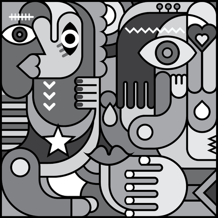 greyscale: Greyscale abstract art vector graphic design. Decorative collage of various objects and shapes.