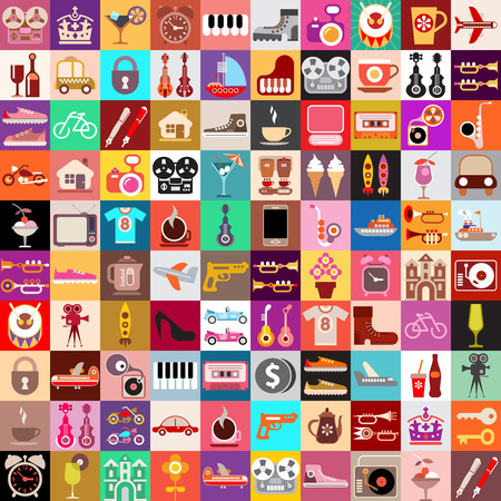 random: Vector graphic design of various random objects.  Collage of multiple images. Illustration