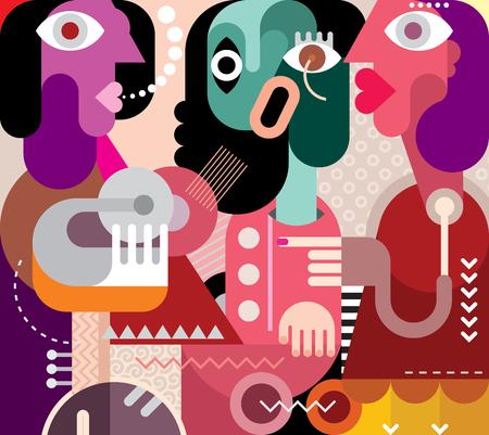 Abstract art portrait of three beautiful women. Graphic design vector illustration. Crying woman. Illustration