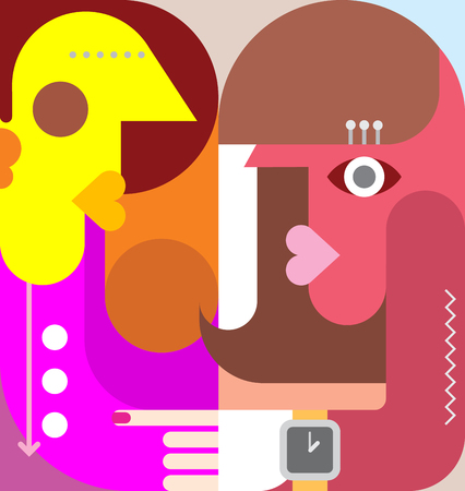 lady clock: Abstract art portrait of a man and a woman. Vector graphic design. Flat style.