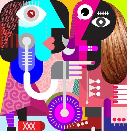 arte moderno: Mujer hermosa con el pelo largo agradable - moderno arte de la ilustración del vector. Cupé mirando el uno al otro.