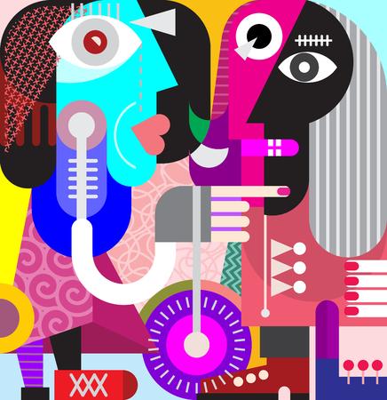 モダンアート: Beautiful woman with the nice long hair - modern art vector illustration. Couple looking at each other.  イラスト・ベクター素材