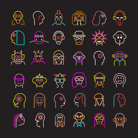 icon man: Large set of various neon people portraits. Isolated vector icons on black background.
