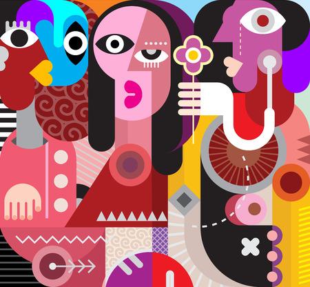 arte moderno: Dos hombres y la mujer hermosa. El hombre da una flor a una mujer hermosa - ilustración vectorial arte moderno. retrato abstracto.