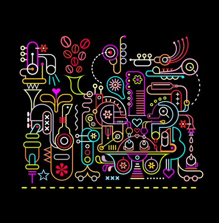 sounds: Neon colors on a black background coffee shop vector illustration..The Magic Coffee Shop, where coffee beans are ground and blend with the music sounds, pure water, the fragrance of flowers and mood of the love that will create the most delicious coffee i