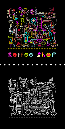 black and white image: Two variants of coffee shop vector illustration. Neon colors on a black background and white line art image on a black background  The Magic Coffee Shop, where coffee beans are ground and blend with the music sounds, pure water, the fragrance of flowers a Illustration