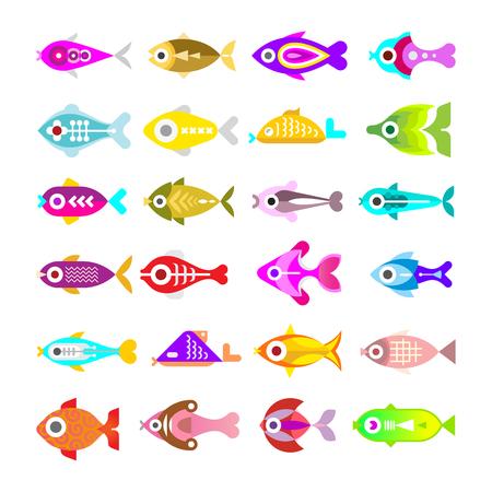 sealife: Aquarium Fishes - set of colorful vector icons. Isolated on white background.