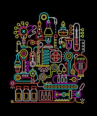 검은 색 현대적인 연구 실험실 벡터 일러스트 레이 션에 네온 색상.
