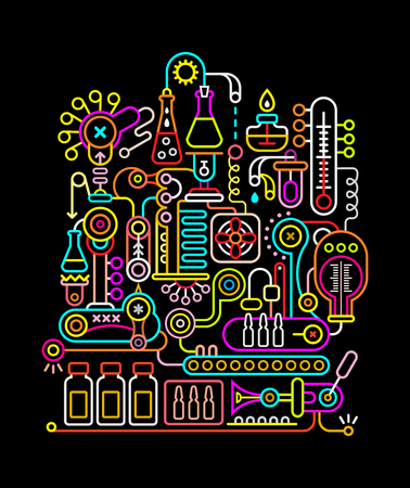 Neon colors on a black background modern research laboratory vector illustration. Çizim
