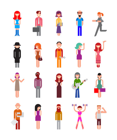 various: Set of isolated vector icons on white background. Collage of people with different professions.