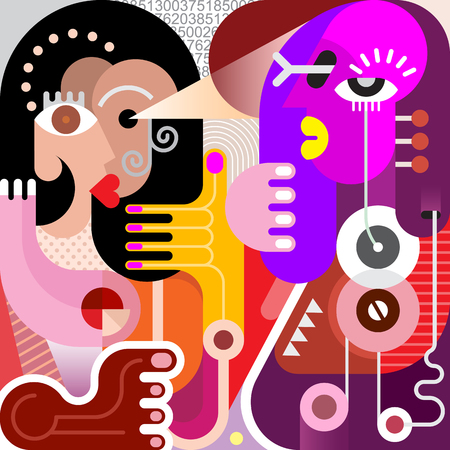fine art: Two women abstract modern fine art picture. Vector illustration. Couple looking at each other.