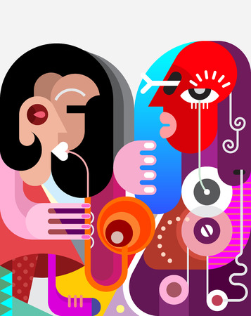 boyfriend: Brunette woman playing saxophone for her boyfriend. Two musicians, modern fine art, illustration.