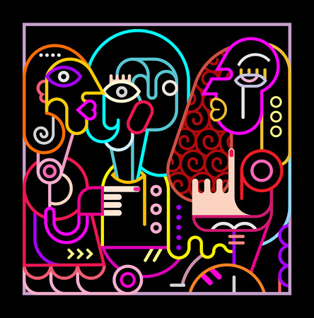 black lady talking: Neon colors on a black background portrait of three women. Modern abstract art illustration.