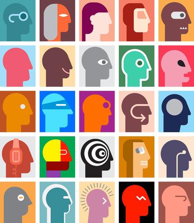 various: Various human portraits. Abstract art illustration. Illustration