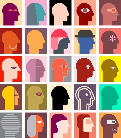 collage: Various human portraits. Abstract art illustration. Illustration