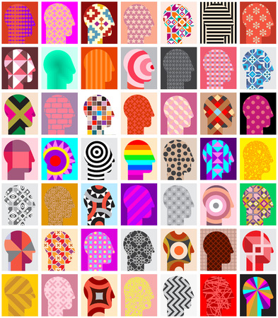 diversidad: Conjunto de siluetas de cabezas humanas con múltiples variaciones de patrones. siluetas cabeza humana ornamentales y geométricos. Puede ser utilizado como fondo transparente.