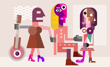 Man between two women. Love triangle. Modern fine art picture, illustration.