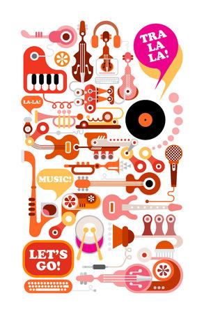 音楽のイラスト。楽器と機器は、白い背景で隔離の組成物。