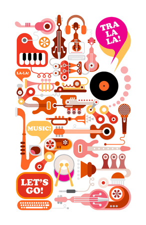 jukebox: Music illustration. Composition of musical instruments and equipment isolated on white background. Illustration