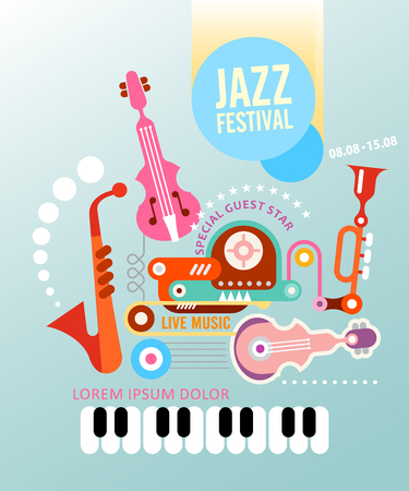 blue background: Music festival vector poster. Art composition of musical instruments on light blue background. Illustration