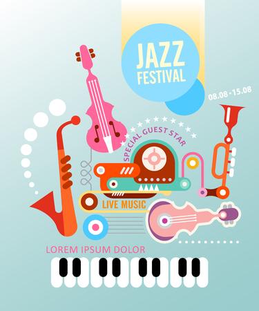 composition art: Music festival vector poster. Art composition of musical instruments on light blue background. Illustration