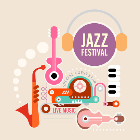 composition art: Music festival vector poster. Art composition of musical instruments on light grey background.