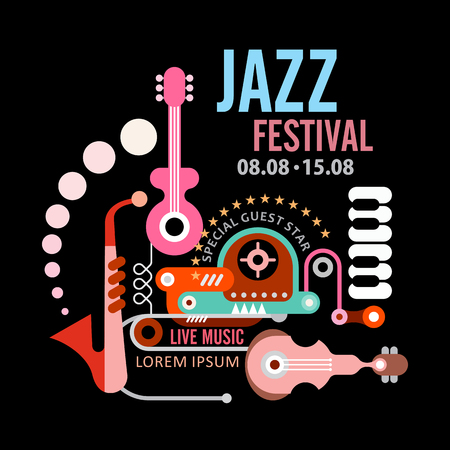 music festival: Jazz festival vector poster. Art composition of musical instruments on black background. Illustration