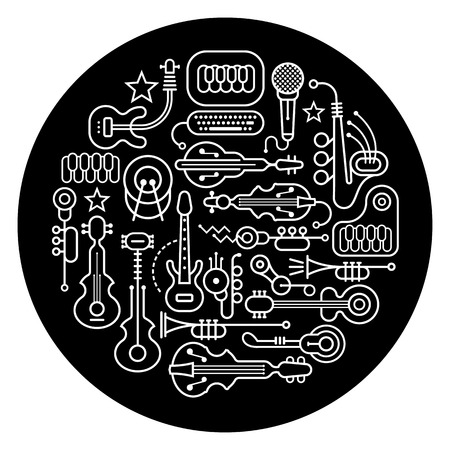 concerto: Round shape vector illustration of various musical instruments. Art line silhouettes on a black background.