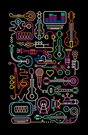 黒の背景音楽ショップのネオンの色ベクトル イラストです。