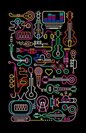 Neon colors on a black background music shop vector illustration.