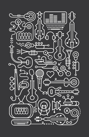 music background: Art line on a dark grey background music shop vector illustration.
