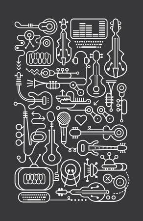 Art line on a dark grey background music shop vector illustration.