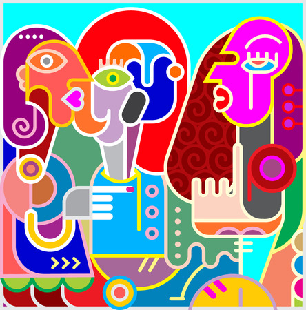 fine art: Modern abstract fine art portrait of three women. Colorful vector illustration. Illustration