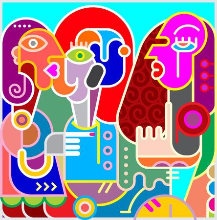 Moderne abstraite portrait d'?uvres d'art de trois femmes. Colorful illustration vectorielle.