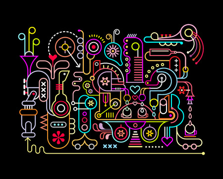 Neon colors on a black background Music Studio vector illustration.