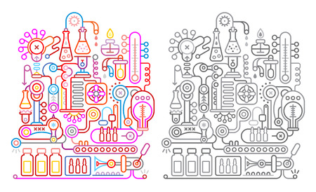 greyscale: Colorful and greyscale variants on a white background modern research laboratory vector illustration. Illustration