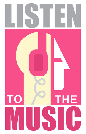 listen music: Musicall poster. Vector. Gyu with headphones. Text Listen to the music.