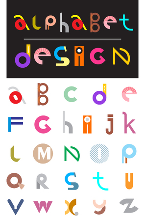 decor graphic: Editable vector alphabet. Colorful letters on a white background with text Alphabet Design. Vector file can be scaled to any size without loss of resolution and you will be able to change any color or detail of this image easily. Illustration