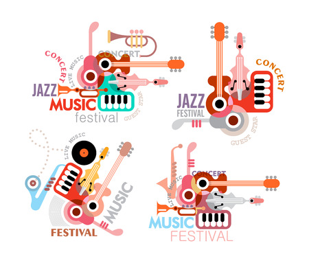 music poster: Music festival poster. Vector. Four options art composition with musical instruments and copy.