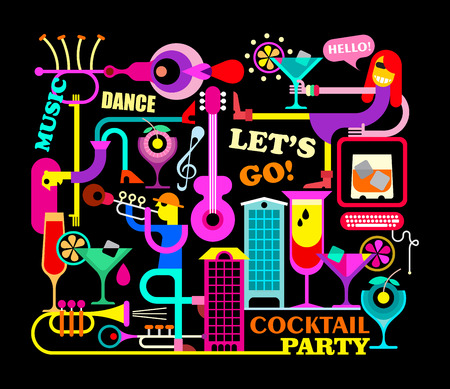 party background: Vibrant colors on a black background Cocktail Party vector illustration. Illustration