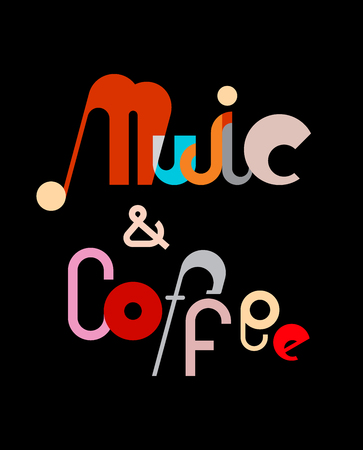 fonts music: Music and Coffee - vector decorative text architecture. Text composition isolated on a black background.