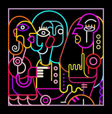 fine art: Neon colors on a black background Abstract portrait of three women. Modern fine art vector illustration.
